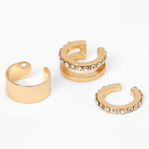Gold Embellished Ear Cuffs - 3 Pack,