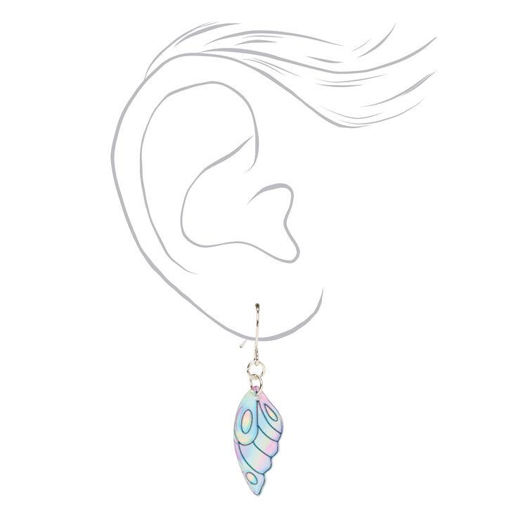 Holographic Wings Drop Earrings,