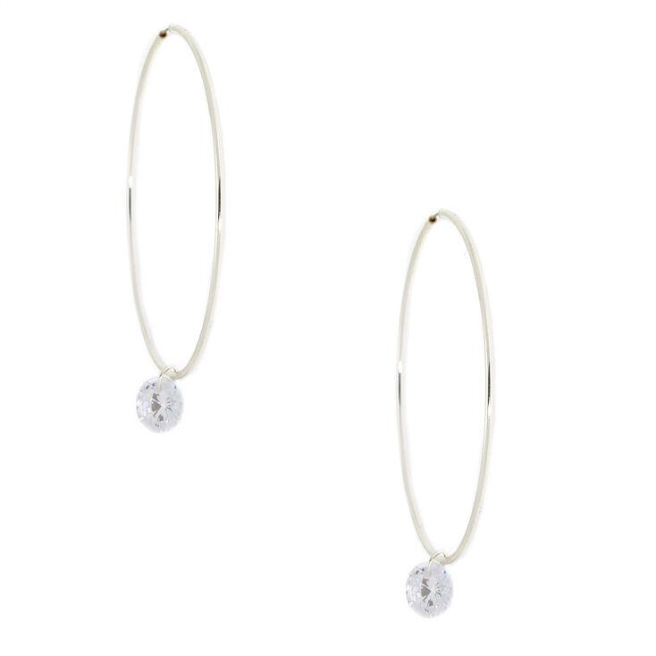 Silver 50MM Cubic Zirconia Stone Hoop Earrings,