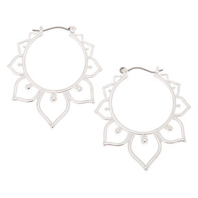 Silver 30MM Leaf Hoop Earrings,