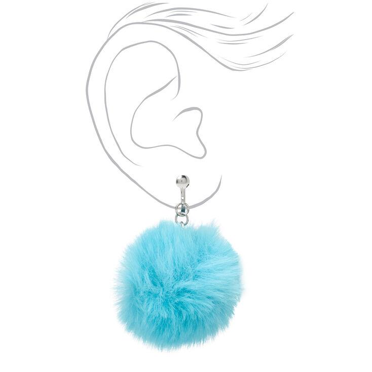 """Silver 1.5"""" Pom Pom Clip On Drop Earrings - Teal,"""