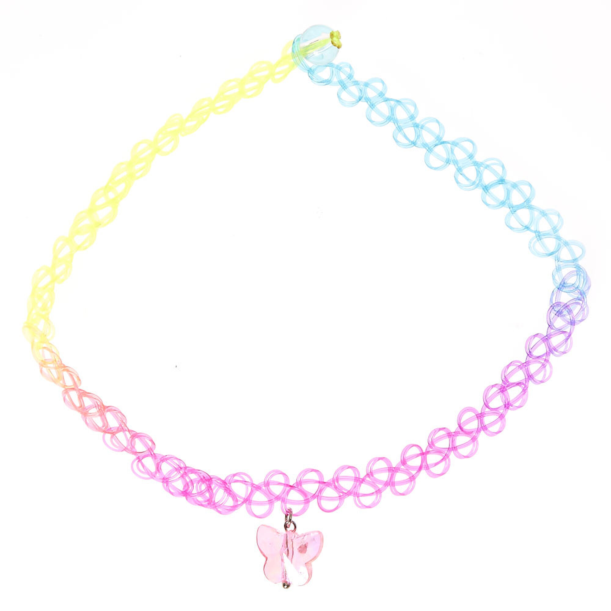 Kids Rainbow Tattoo Choker Necklace with Butterfly Charm ...
