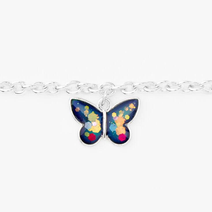 Silver Butterfly Mood Charm Bracelet,