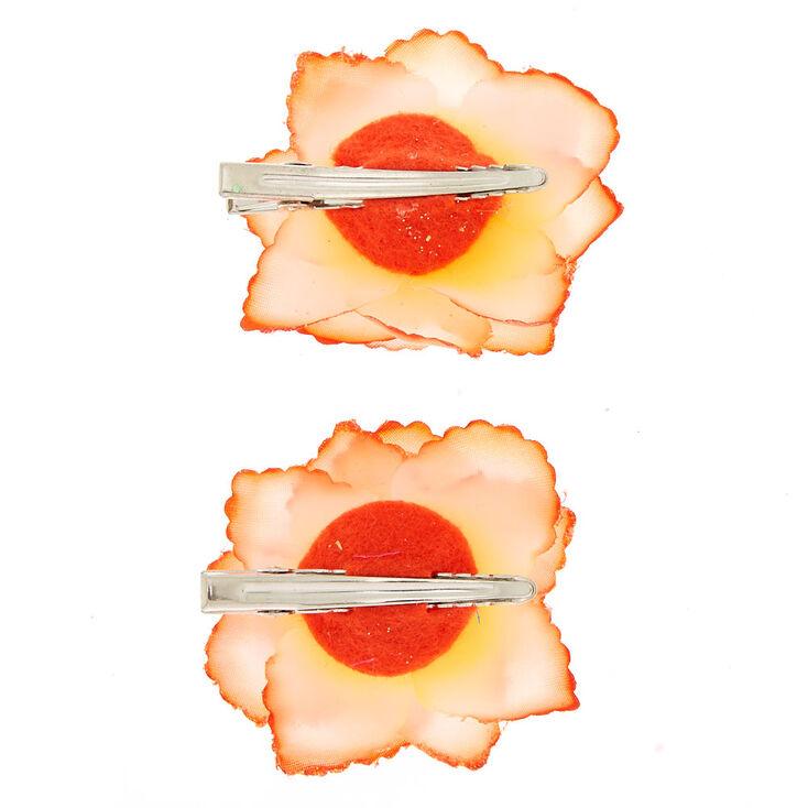 Glitter Flower Hair Clips - Orange, 2 Pack,