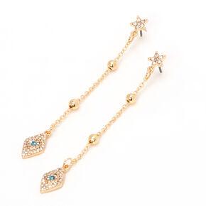 """Gold 3"""" Evil Eye Star Linear Drop Earrings,"""