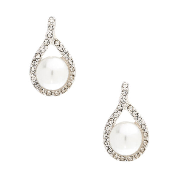Claire's - pearl bead and crystal earrings - 1