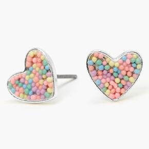 Silver Pastel Sprinkle Heart Stud Earrings,