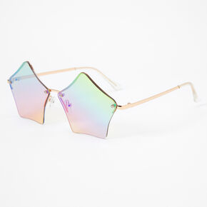Rose Gold Star Shaped Rainbow Lens Sunglasses,