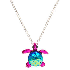 Metallic Pink Turtle with Mermaid Scales Pendant Necklace,