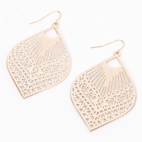 "Rose Gold 2.5"" Filigree Teardrop Drop Earrings,"