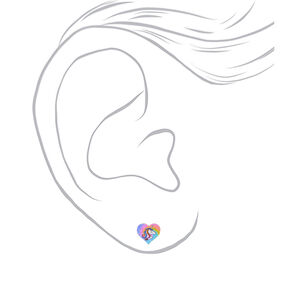 Tie Dye Unicorn Heart Stud Earrings,