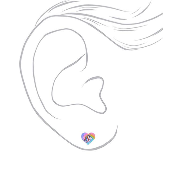 Clous d'oreille cœur licorne effet tie-dye,