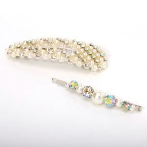 Iridescent Crystal Pearl Hair Pin & Snap Clip - 2 Pack,