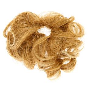 Cheveux synthétiques bouclés blonds avec élastique,