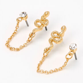 Gold Snake Crystal Connector Chain Stud Earrings,