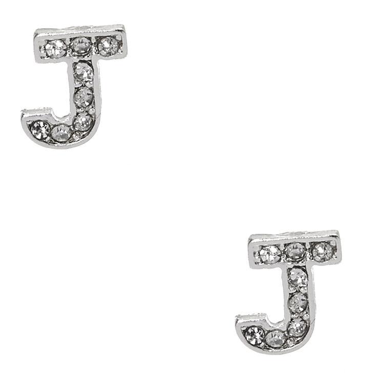 Silver Tone Clear Crystal Initial Letter J Stud Earrings