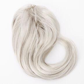 Élastique torsadé avec cheveux synthétiques longs et ondulés - Gris,