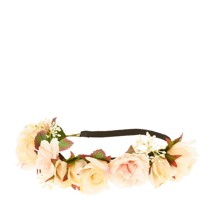 couronne de fleurs roses et p che claire 39 s fr. Black Bedroom Furniture Sets. Home Design Ideas
