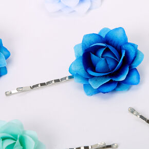 Ombre Rose Flower Hair Pins - Blue, 6 Pack,