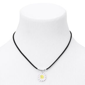 Happy Daisy Cord Pendant Necklace - Black,