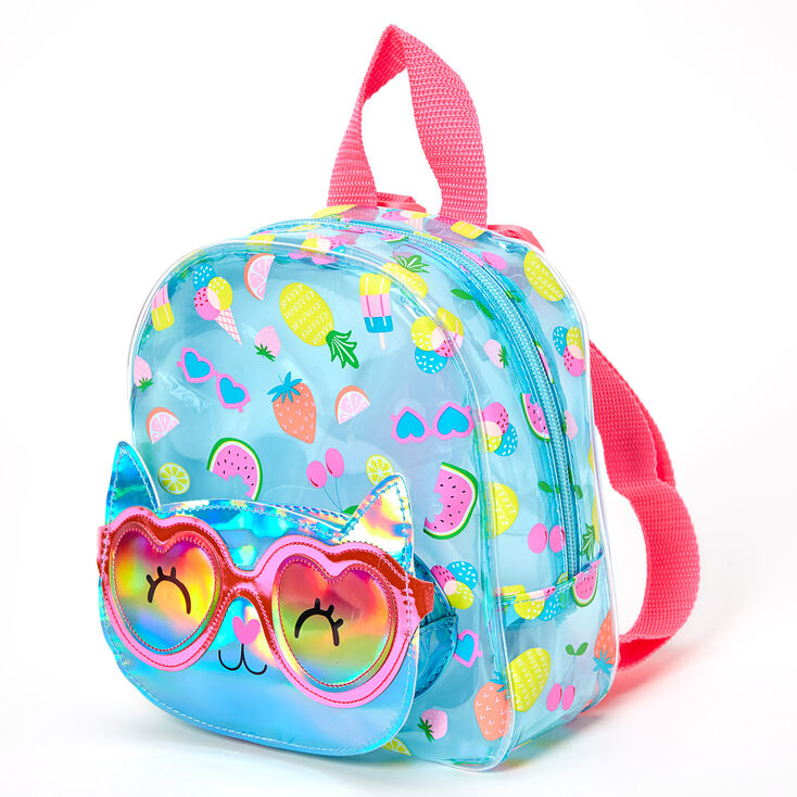Claire's Club Cam the Cat Tropical Transparent Mini Backpack - Turquoise,