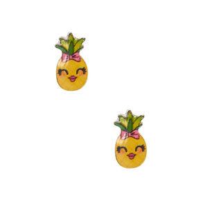 Pineapple Stud Earrings - Yellow,