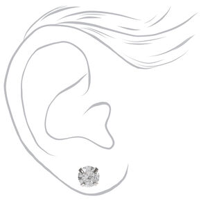 Silver Cubic Zirconia Round Stud Earrings - 3MM, 4MM, 6MM,