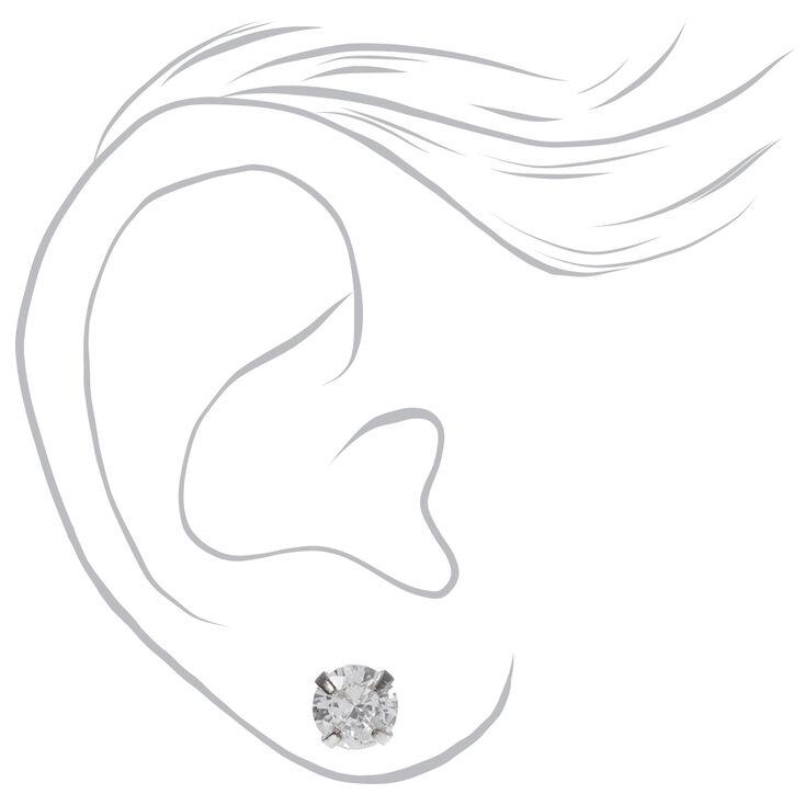 Clous d'oreilles ronds avec strass en zircon cubique d'imitation couleur argentée - 3mm, 4mm, 6mm,