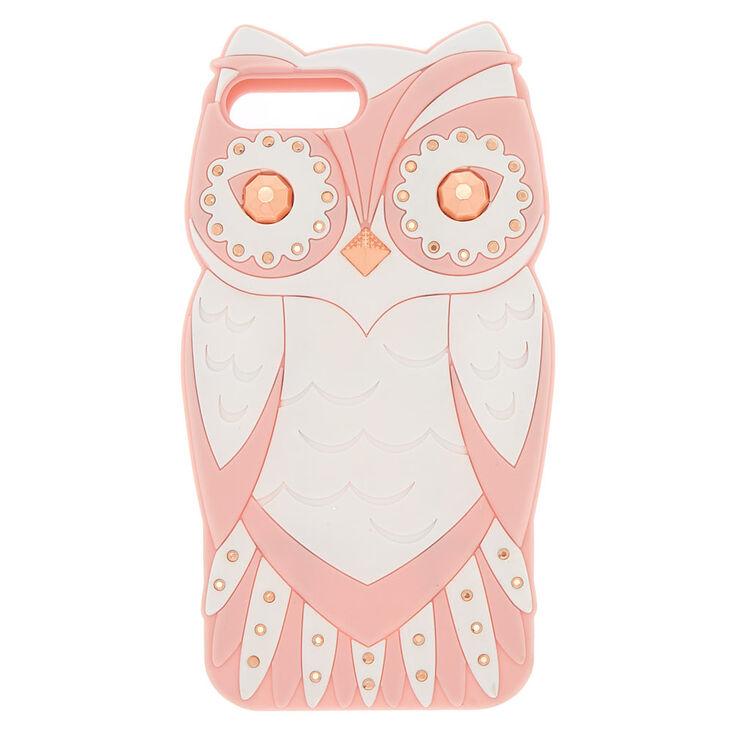 Coque de portable chouette glamour couleur rose,