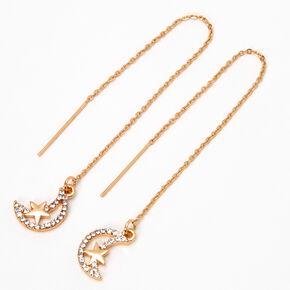 """Gold 2.5"""" Star Crescent Moon Threader Drop Earrings,"""