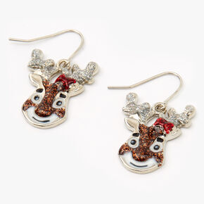 "Silver 1"" Glitter Reindeer Drop Earrings,"