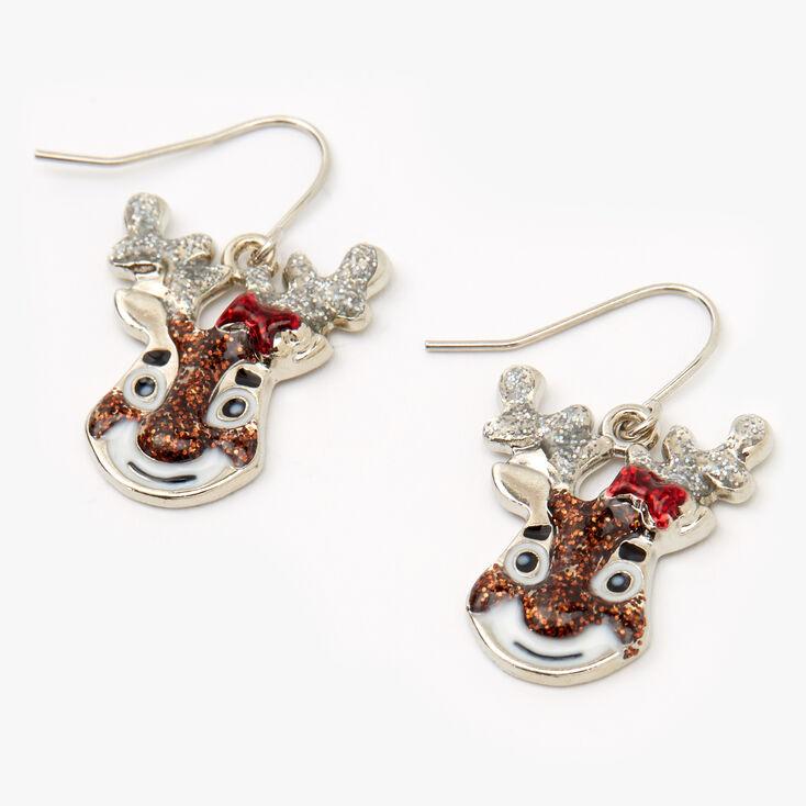"""Silver 1"""" Glitter Reindeer Drop Earrings,"""