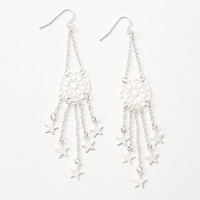 """Silver 3.5"""" Star Dreamcatcher Drop Earrings,"""