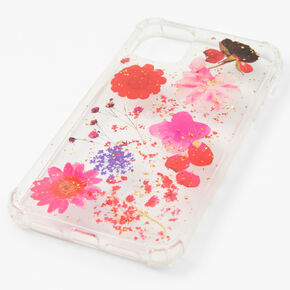 Clear Pressed Red Flower Phone Case - Fits iPhone 11,