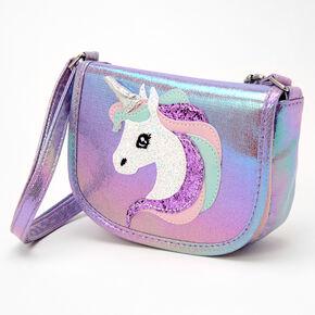 Claire's Club Glitter Unicorn Handbag - Lilac,