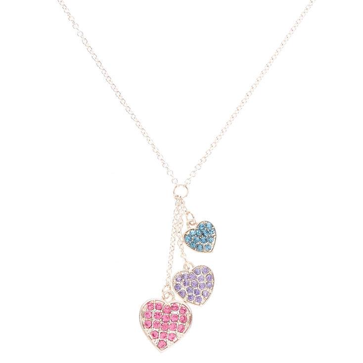 Pastel Rhinestone Heart Trio Pendant Necklace,