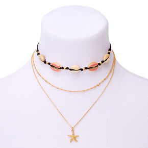 Gold Cowrie Shell Multi Strand Necklace - Pink,