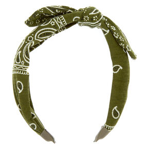 Bandana Knotted Bow Headband - Olive Green,