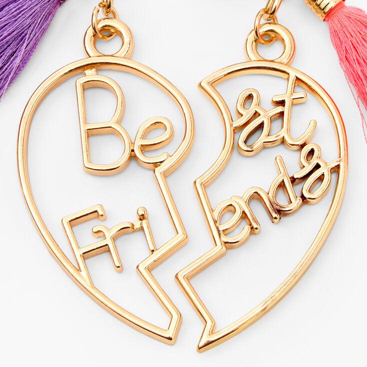 Gold Heart Tassel Best Friends Keyrings - 2 Pack,