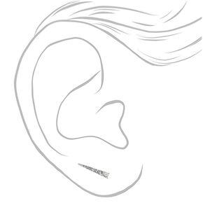 "Silver 1"" Triangle Embellished Ear Crawler Earrings,"