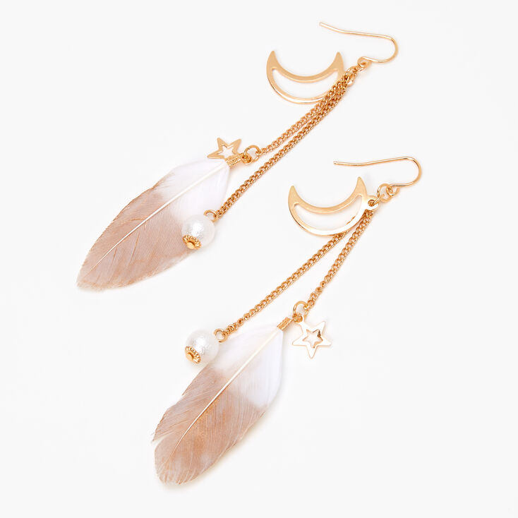 "Gold 4"" Celestial Pearl Feather Drop Earrings,"