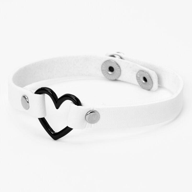 Bracelet cœur à pression en similicuir- Blanc,