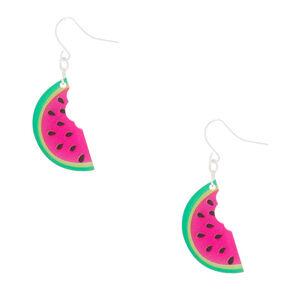 """Silver 1.5"""" Watermelon Drop Earrings - Pink,"""