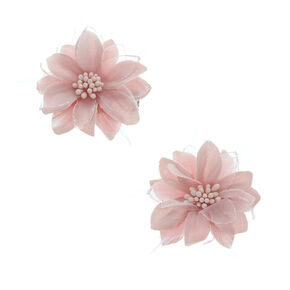 Lily Flower Feather Hair Clips - Pale Pink, 2 Pack,