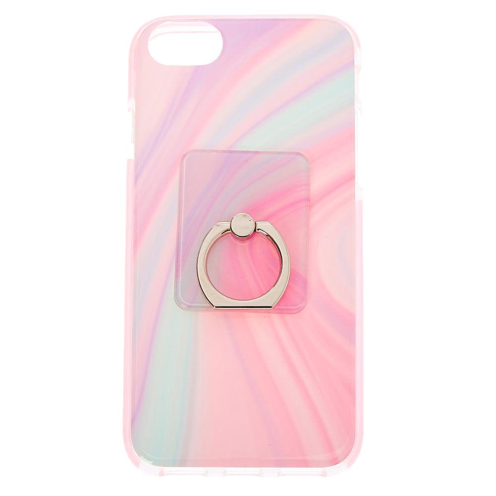 Coque de protection pour portable avec support anneau motif tourbillon pastel - Compatible avec iPhone 6/7/8/SE