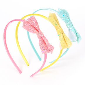 Claire's Club Pastel Glitter Bow Headbands - 3 Pack,
