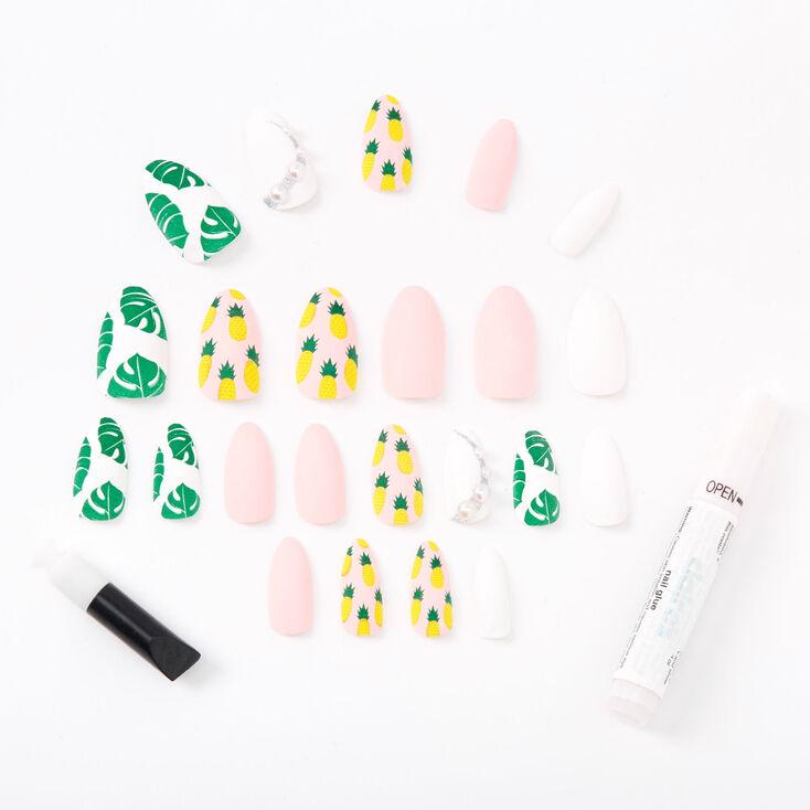 Matte Tropical Pearl Stiletto Faux Nail Set - 24 Pack,
