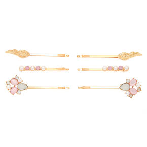 Rose Gold Pearl Wings Hair Pins - 6 Pack,