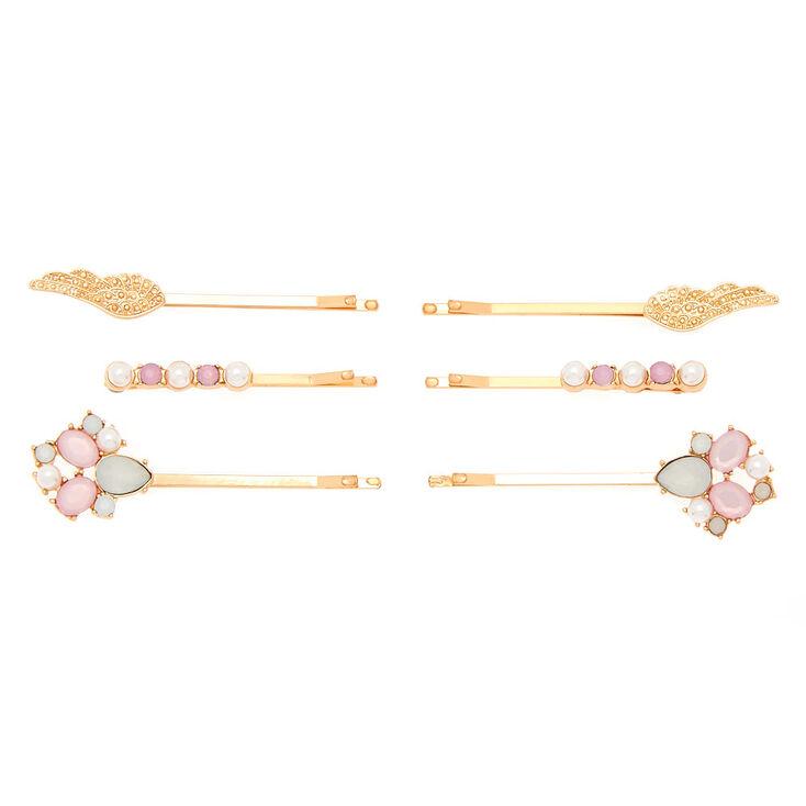 Rose Gold Pearl Wings Hair Pins - 6 Pack,