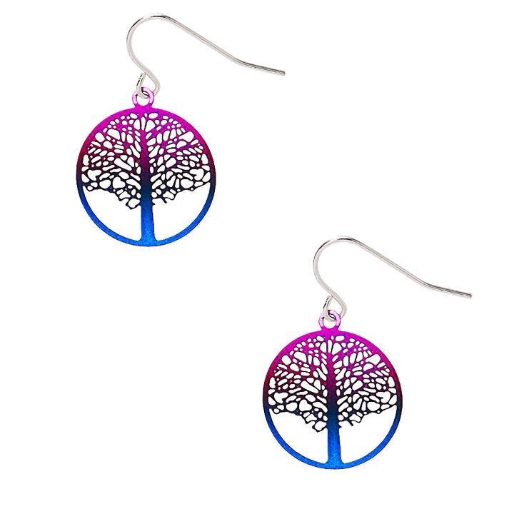 "1"" Ombre Tree of Life Drop Earrings,"